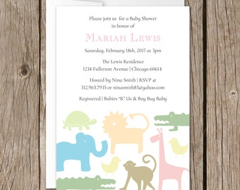 Printable Baby Shower Invitation | Evite | Instant Download | Zoo Animal |  Unisex
