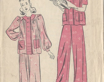 "1940s Vintage Sewing Pattern B32"" PYJAMAS (R713) Advance 2584"