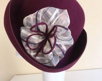 Burgundy red cloche hat with wide brim