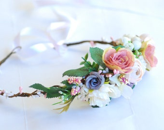 Bridal floral crown Pastel coral flower crown Bridal headband  bridal flower crown Boho floral crown bohemian flower crown Summer crown