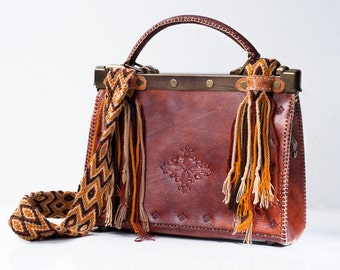 Tribal Leather Satchel - Colombian Genuine Leather Satchel- Wayuu Handwoven Strap