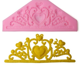 Crown Jewelry Heart Silicone Fondant Mold