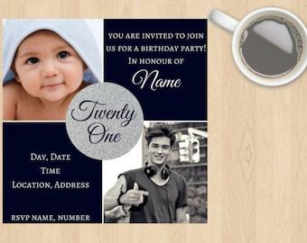 Digital Download 18th, 21st, 20th, 30th, 40th, 50th, 60th, 70th, 80th, 90th ect Birthday Invitation Boy,Male,Guy