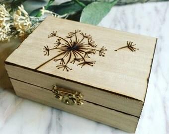 Dandelion Box (pyrography)