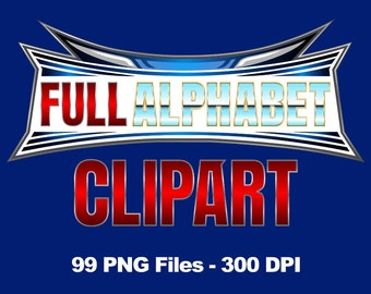 Wrestlemania - Alphabet Clipart - 99 png files 300 dpi + Free Clipart