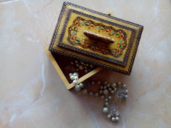 Vintage Wood Box/ Wood jewelry box/Wood Trinket box/ Pyrography Box/ Hand Carved Painted Colorful Box/ Trinket box/ Vintage box/