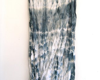 Long Hand-dyed Cotton Shibori Scarf in Sage - Raw Edges