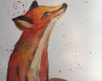 Watercolor Fox Painting