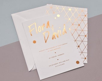 Handwriting Copper Foil wedding invitation