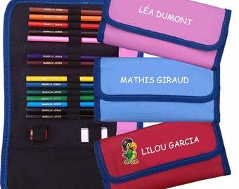 Conjunto personalizado lápices de colorear y caso, caja de lápiz de la escuela de arte infantil, personalizar caja de lápiz, lápices de la escuela, embroman el sistema de lápiz