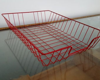 Vintage retro red wire filing storage tray - filing/organiser