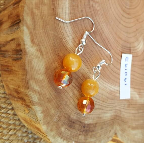 Amber Tone Stone Earrings / Amber Tone Earrings / Beveled Cut Earrings / Dangle Earrings / Hippie Earrings / Boho Jewelry /E61061
