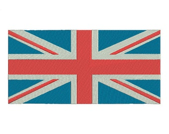 5 sizes United Kingdom Flag Embroidery Design, UK Great Britain Flag Embroidery Design, British Union Jack Embroidery Design