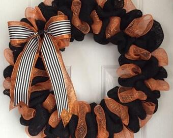 Burlap Halloween Wreath - Halloween Door Decor - Halloween Wreath - Fall Wreath - Fall Burlap Wreath - Halloween Burlap Wreath