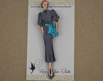 1930's Fashion Model ~ Wood Laser Cut - Altered Art Pin / Brooch Vintage Graphic