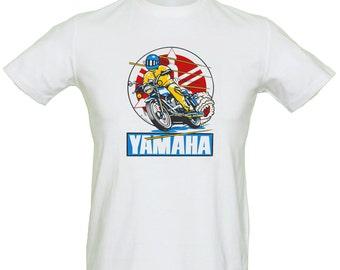 Yamaha Motor Bike T Shirt Genuine Vintage Retro 70's Transfer Mens White Cotton Size S-XXL