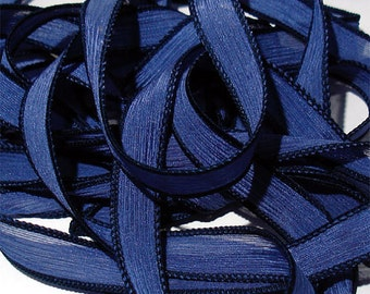 "1PC. NAVY 42"" hand dyed wrist wrap bracelet silk ribbon//Yoga wrist wrap bracelet ribbons//Hand dyed Boho Silk wrist wrap ribbon"