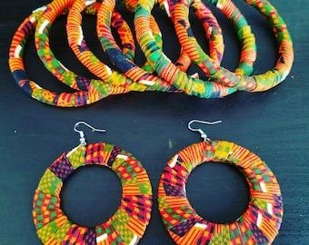 Ankara Earrings, Kente Earrings, African Jewelry, Tribal Earrings, Big Earrings, AishaKBoutique, African Print, Hoops Earrings