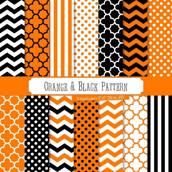 Printed Vinyl Orange And Black Pattern Pattern Vinyl