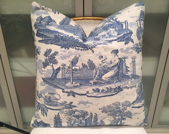 Brunschwig & Fils Le Kakatoes cotton toile fabric with cream linen back pillow  22 x 22 with down stuffer