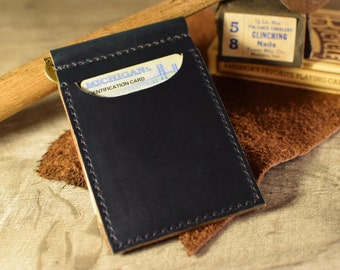 Slim leather wallet, Men's money clip wallet, front pocket wallet