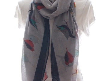 Light grey bird Scarf shawl, Beach Wrap, Cowl Scarf,light grey bird print scarf, cotton scarf, gifts for her