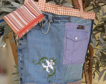 "Shopper, jeans pocket ""Karo-orange"" Upcycling,."