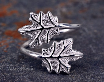 Leaf ring Silver 925 adjustable silver ring women's rings ladies jewelry SRI172