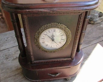 FREE SHIPPING   Vintage wooden big clock 1970's with carved elements of bronze made in Germany