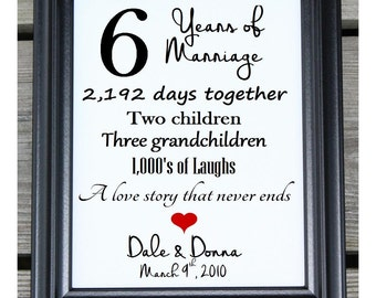 6th Anniversary Gift Cotton Canvas Print | 6th Wedding Gift | 6 Years Together | 6 Years of Marriage | Six Years Together | 6th Anniversary