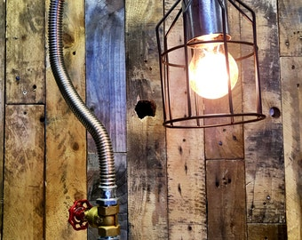 Steam Punk desk lamp with hand valve switch
