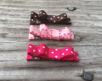 Pink Baby Clips / Baby Bows / Baby Hair Clips