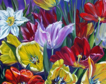 "Oil Painting ""Bright tulips"""