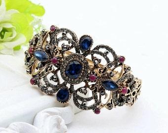 Turkish blue/red bangle bracelet vintage look