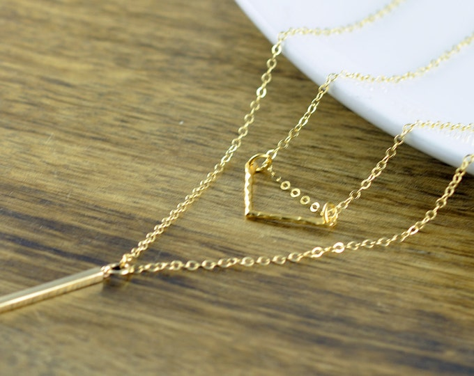 Gold Chevron Necklace - Gold Vertical Bar Necklace  - Geometric Necklace - Geometric Jewelry - Layered Necklace Set, Layered Necklace