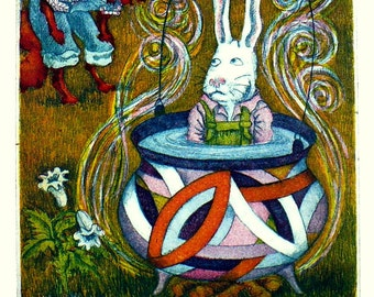 "Original Framed Etching, ""Brer Rabbit Stews In Frank Stella's Pot,"" 1981"