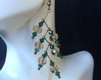 Crystal Leaf Drop Earrings-Emerald Green; Crystal Dangle Earrings, Statement Earrings, Tiered Earrings