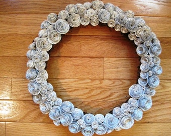 "Paper Rose Wreath in 8"" , 10"" or 12"" sizes"