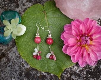 Earrings pink Agate