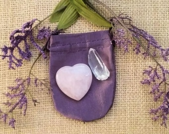 Rose Quartz Love Heart w/ Quartz Crystal + Pouch + Instructions for Manifesting, Meditation, and Enhancing Visualization. Great Gift!