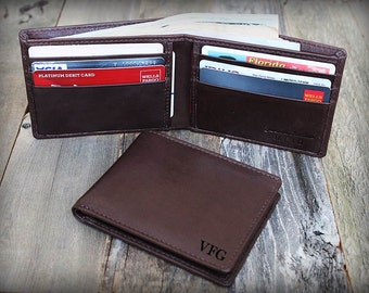 Father's Gift - Father's Day - Minimalist Men's Leather Wallet - Thin Leather Wallet - Personalized Slim Wallet - Brown Leather Wallet -7120