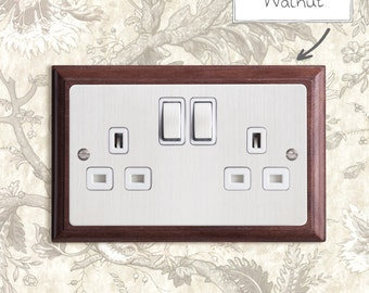 Double Plug Socket - Chamfered - Stainless Steel - 2 Gang 13A DP Switched Socket