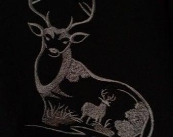 Deer Embroidered  Zip Up Hoodie