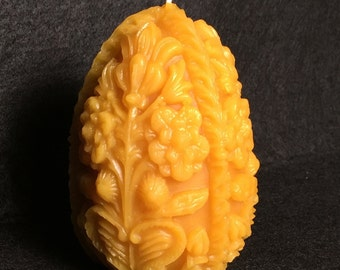 100% Pure Beeswax Carved Egg Candle