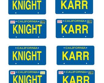 scale model Knight Rider KITT car license tag plates