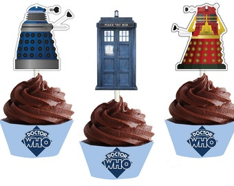 Doctor Who Cupcake Wrappers and Toppers Instant Download Dr Who Cupcake Wrappers and Toppers