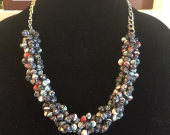 Handmade Multi Colored Paper Bead Necklace