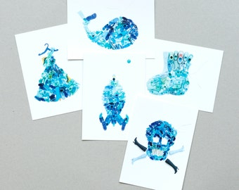 Set van 5 kaarten met blauwe schoenen illustraties (Col-lec-tion Various | Blue)