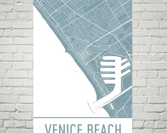 Venice Beach Map, Venice Beach CA Art, Venice Beach Print, Venice Beach CA Poster, Venice Beach Wall Art, Map of Venice Beach, Gift, Map Art