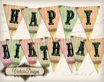 Happy Birthday Banner printable party banner bunting flags instant download digital collage sheet VD0562